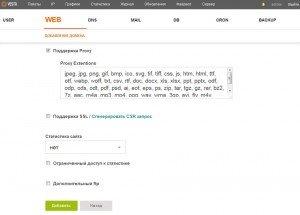 Добавляем сайт (наш домен) в панели Vesta